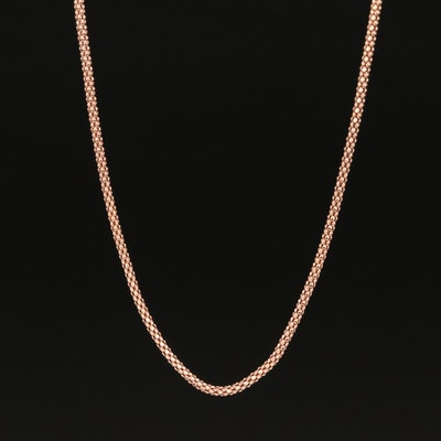 14K Rose Gold Popcorn Chain Necklace
