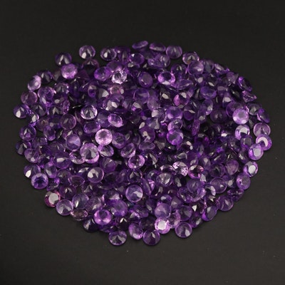 Loose 101.28 CTW Round Faceted Amethysts