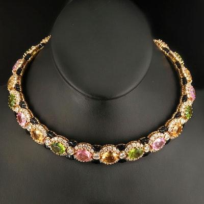 18K 17.00 CTW Diamond and Gemstone Collar with Black Onyx Bowtie Accents