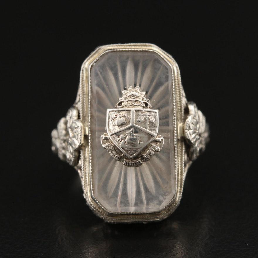 Edwardian 14K Openwork Rock Crystal Quartz Crest Ring