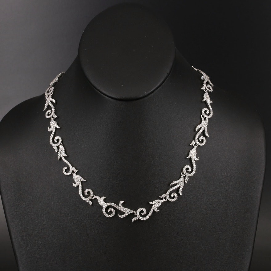 18K 9.29 CTW Diamond Scrolling Link Necklace