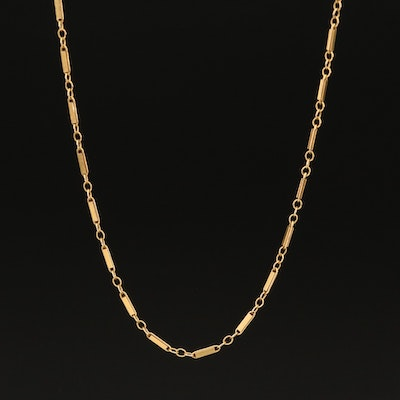 14K Figaro Bar Chain Necklace