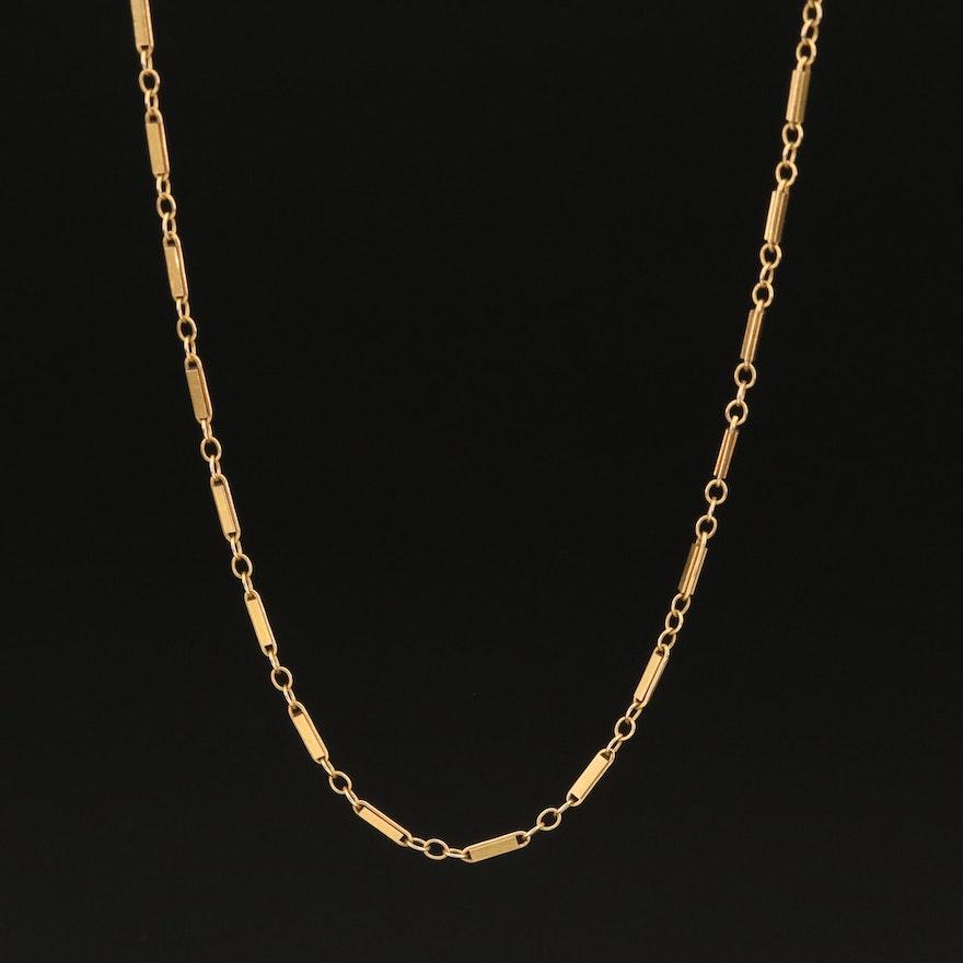 14K Figaro Bar Chain Necklace