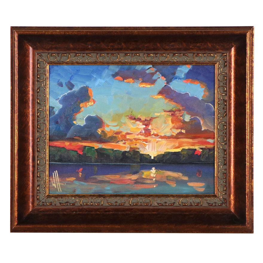William Hawkins Seascape Oil Painting with Sunset, 21st Century