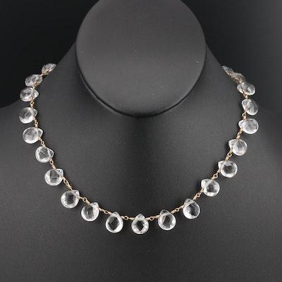 14K Rock Crystal Quartz Fringe Necklace