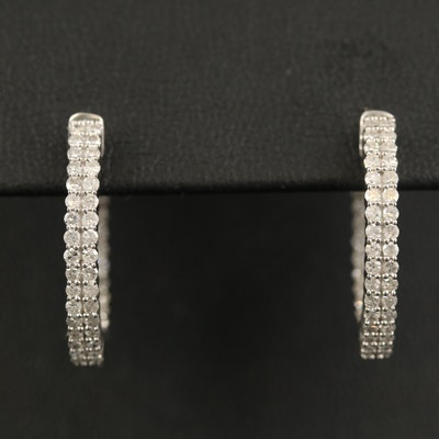 14K Diamond Inside-Out Hoop Earrings
