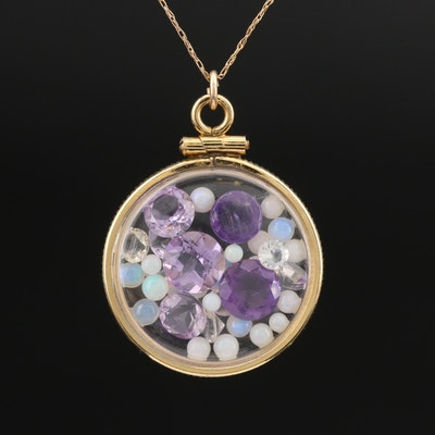 Floating Amethyst and Gemstone Pendant on 10K Chain Necklace