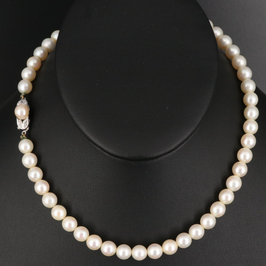 Pearl Necklace with 14K Diamond Accented Clasp