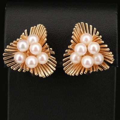 Vintage 14K Pearl Twisted Fan Cluster Earrings