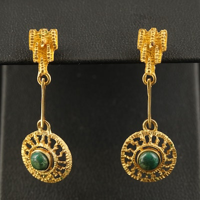 18K Eilat Stone Pendulum Earrings