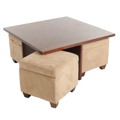 Wood Coffee Table with Four Tan Microsuede Nested Storage Ottomans