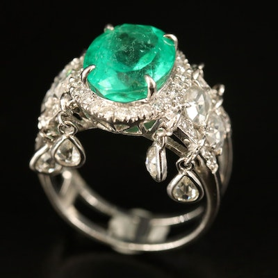 18K 3.96 CT Emerald and Diamond Ring with Diamond Fringe Detail