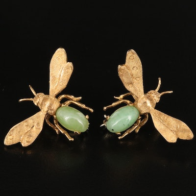 18K Nephrite Insect Brooches with Florentine Finishes