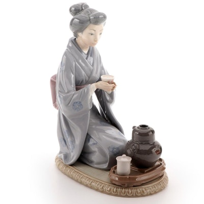 "Lladró ""Japanese Girl Serving Tea"" Porcelain Figurine, 1981"