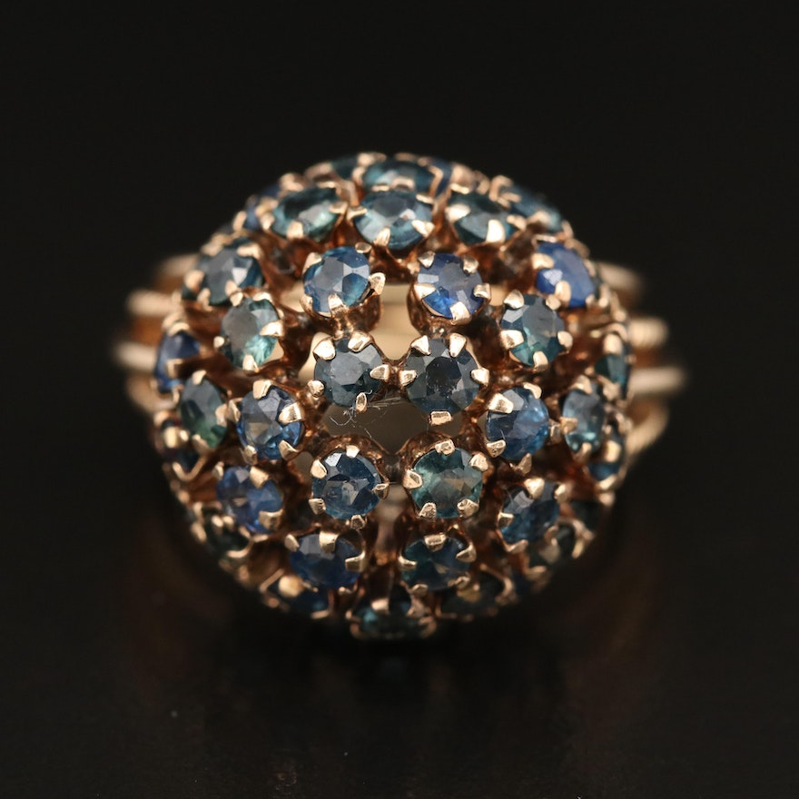 Vintage 14K Sapphire Dome Cluster Ring
