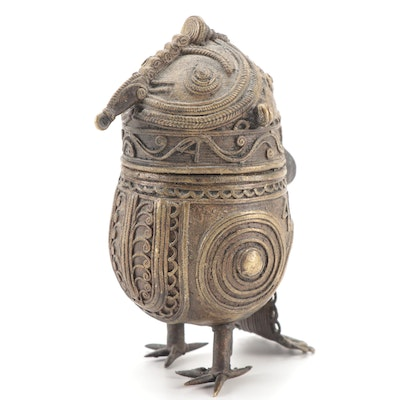 Indian Dhokra Brass Owl Box
