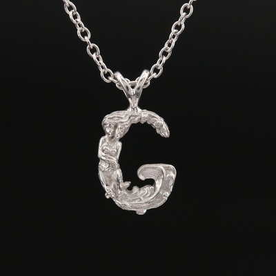 "Z. Jova Sterling Gemini ""G"" Pendant Necklace"