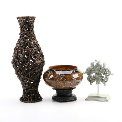 Centerpiece Glass Compote with Resin Fleur-de-Lis Figural and Woven Reed Vase