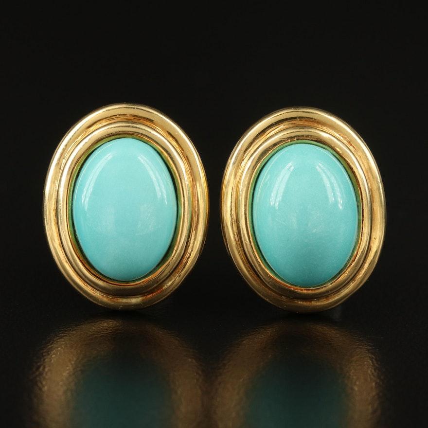 Cellino 18K Turquoise Button Earrings