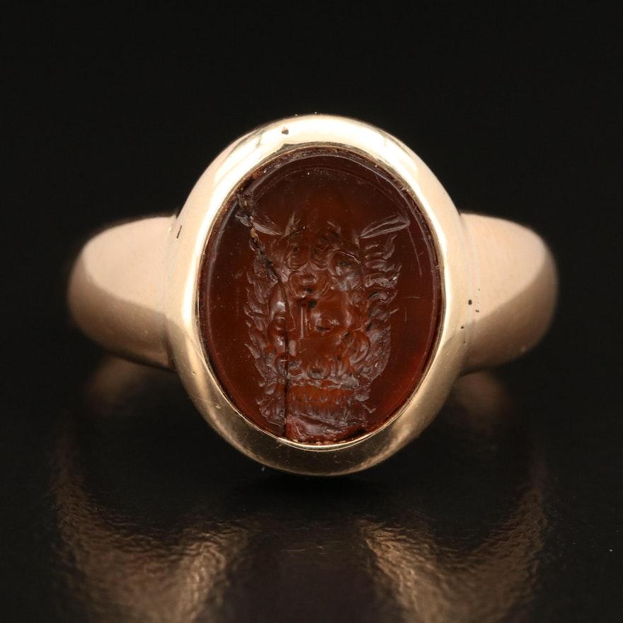 Victorian 14K Carnelian Intaglio Signet Ring