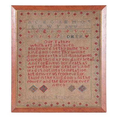 "Cross-Stitch Needlework Sampler with ""The Lord's Prayer,"" 1874"