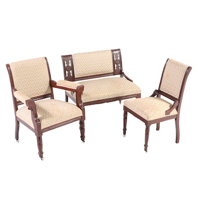Three-Piece Victorian Walnut Parlor Seating Group, Late 19th Century