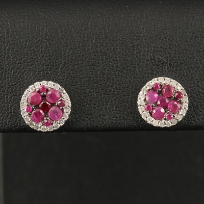 14K Ruby and Diamond Cluster Earrings