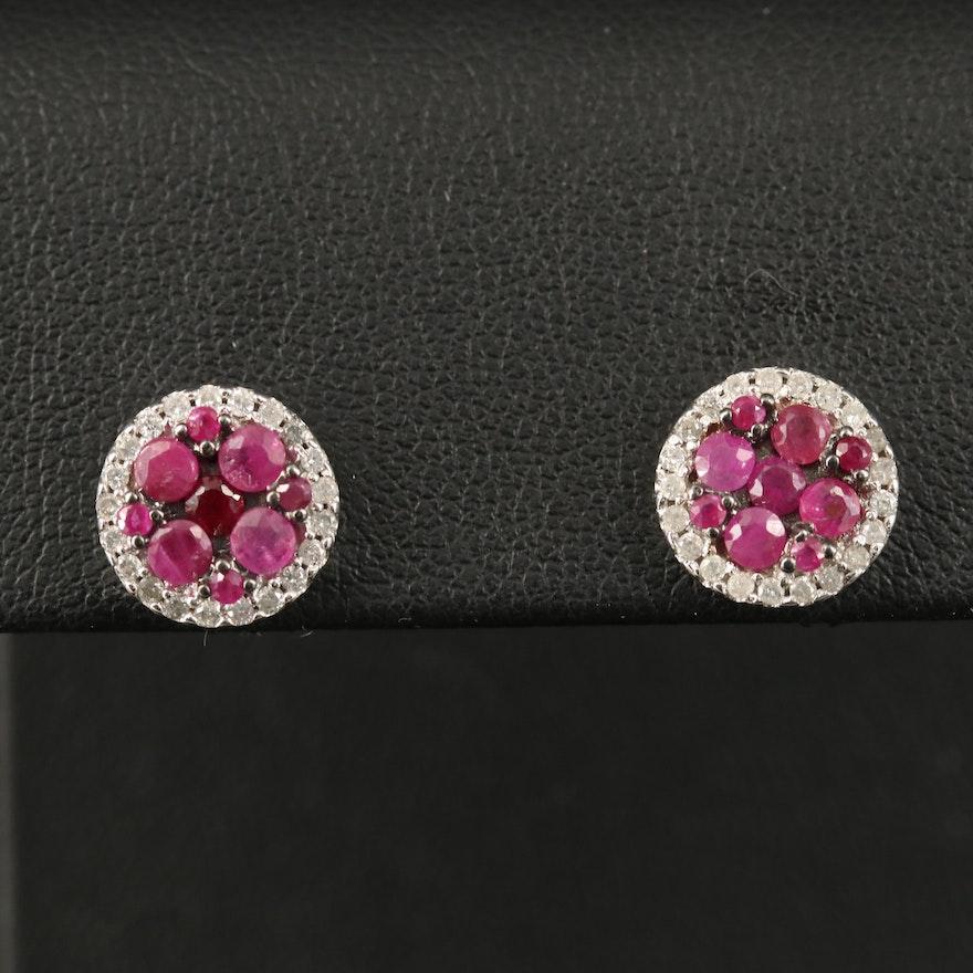 14K Ruby and Diamond Cluster Earrings