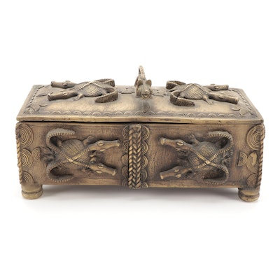 West African Bronze Alloy Box, Gold Weights and Figure