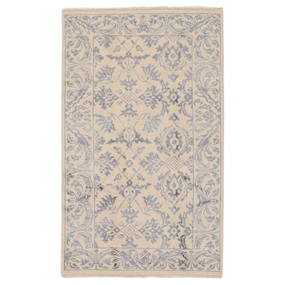 4'10 x 8'1 Hand-Knotted Indo-Turkish Oushak Silk Blend Rug, 2010s