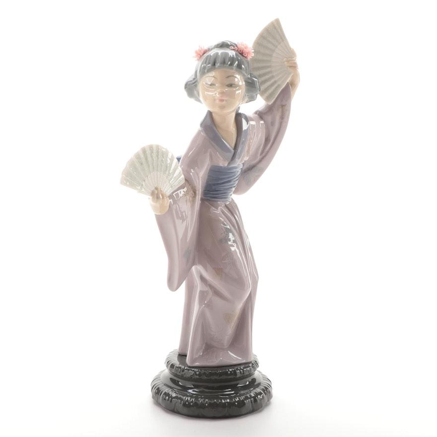 "Lladró ""Japanese with Fan"" Porcelain Figurine, 1978"