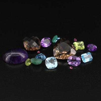 Loose 42.96 CTW Gemstones Including Amethyst and Smoky Quartz
