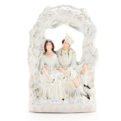 Staffordshire Ceramic Couple Under a Grapevine Flatback,  Late 19th Century