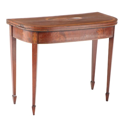 George III Mahogany and Marquetry Double-Gateleg Games Table, circa 1800
