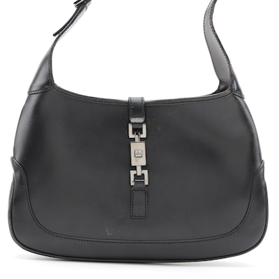 Gucci Jackie O Small Hobo Bag in Black Smooth Leather
