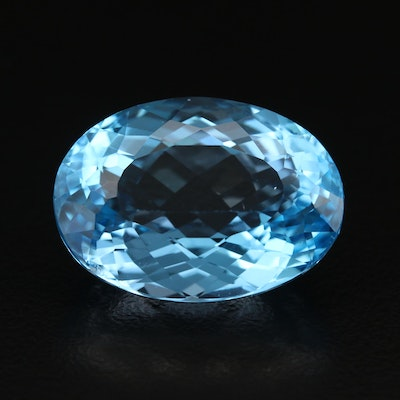 Loose 29.29 CT Oval Faceted Swiss Blue Topaz