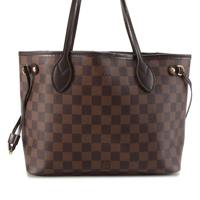 Louis Vuitton Neverfull PM in Damier Ebene Coated Canvas with Leather Trim