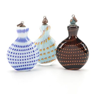 Bavarian Art Glass Snuff Bottles, Antique