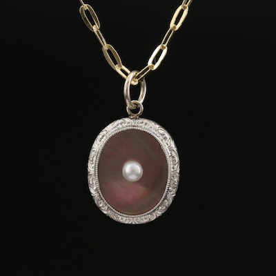 Art Deco 14K and Platinum Mother of Pearl and Pearl Pendant on 10K Necklace