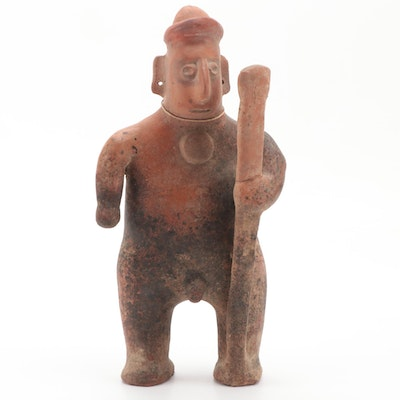Large Pre-Columbian Colima Terracotta Figure of Warrior, 200 BCE-500 CE