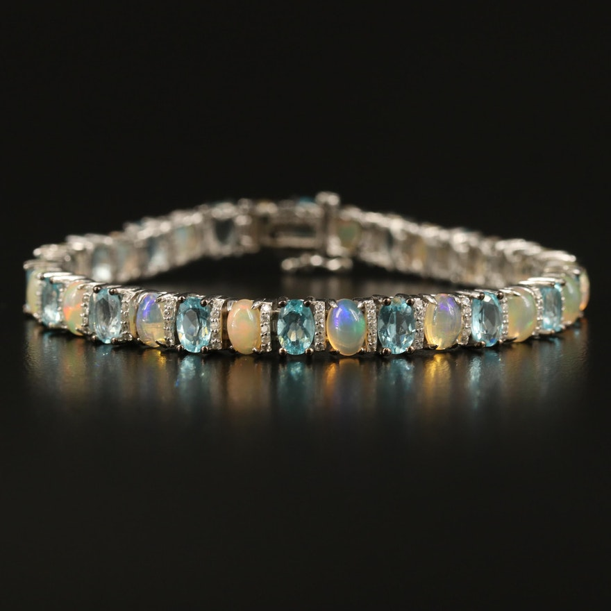 Sterling Apatite, Opal and Sapphire Line Bracelet