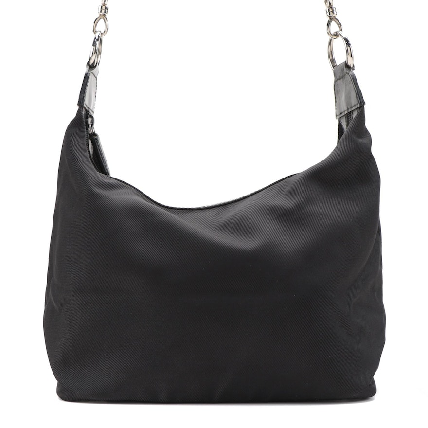 Gucci Black Nylon Hobo Bag with Leather Trim and Bamboo Handle