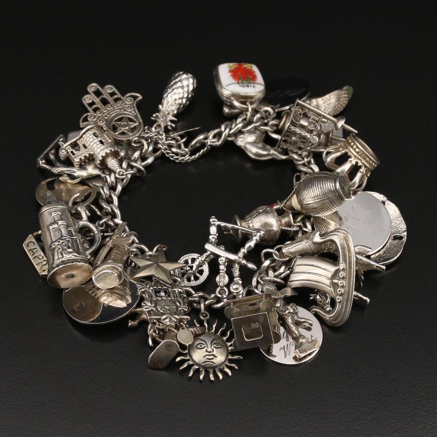 Vintage Sterling Travel Themed Charm Bracelet