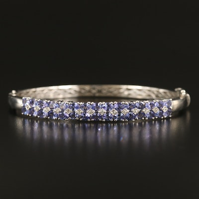 Sterling Tanzanite and Sapphire Double Row Bangle