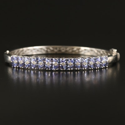 Sterling Tanzanite and Sapphire Double Row Bracelet