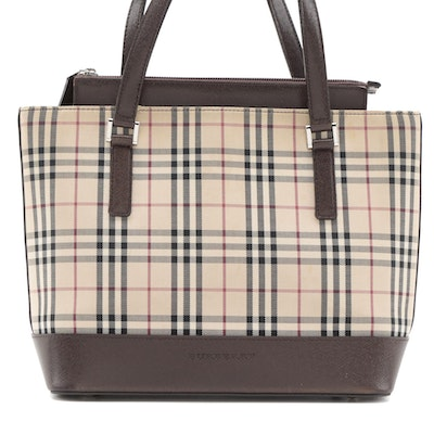 "Burberry Handbag in ""House Check"" Canvas and Brown Saffiano Leather"