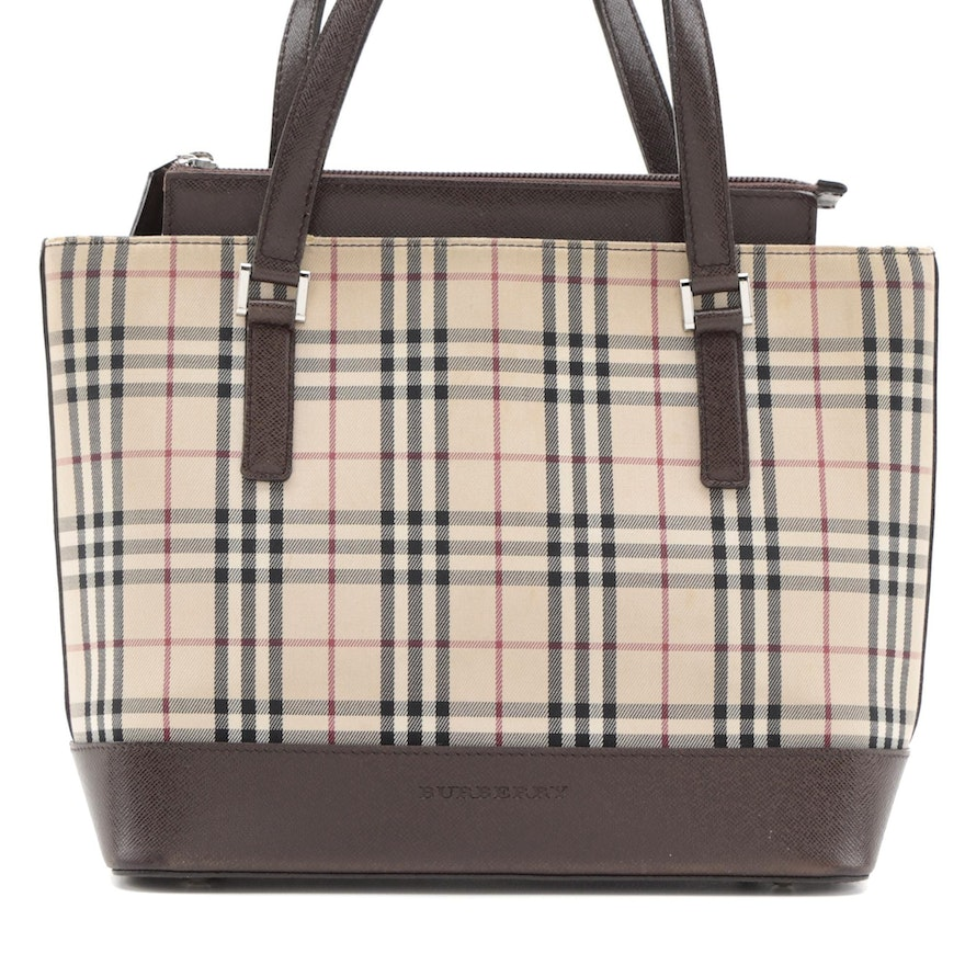 """Burberry Handbag in """"House Check"""" Canvas and Brown Saffiano Leather"""