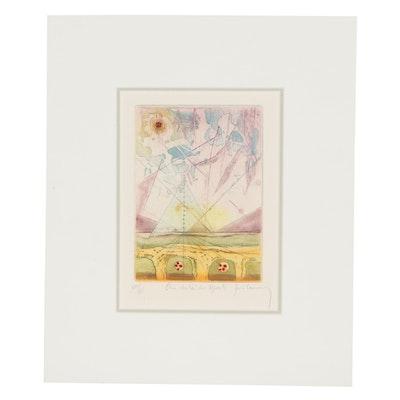 """René Carcan Abstract Etching """"Au delà des Monts"""""""