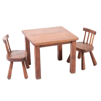 Three-Piece American Primitive Style Child's Dining Set, 20th Century