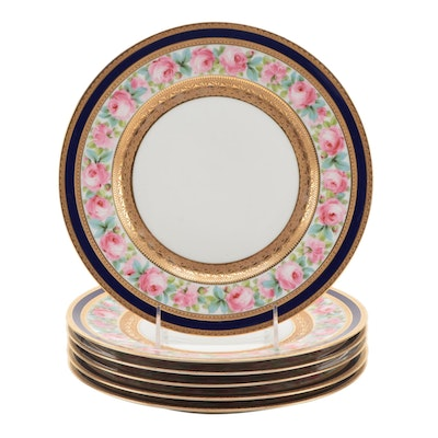 Hutschenruther Hohenberg Encrusted Porcelain Dinner Plates, Early 20th Century